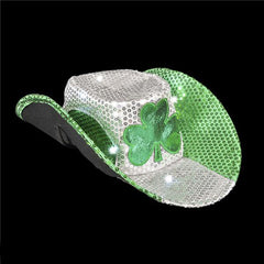 Irish St. Patrick's Day Light Up LED Sequin Cowboy Hat