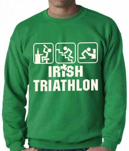 Irish Triathlon Funny St. Patrick's Day Adult Crewneck Kelly Green
