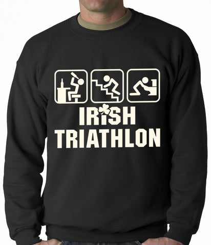 Irish Triathlon Funny St. Patrick's Day Adult Crewneck Black