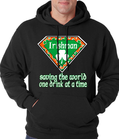 Irishman Saving The World One Drink At a Time Adult Hoodie