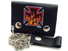 Iron Cross Fire Genuine Leather Chain Wallet