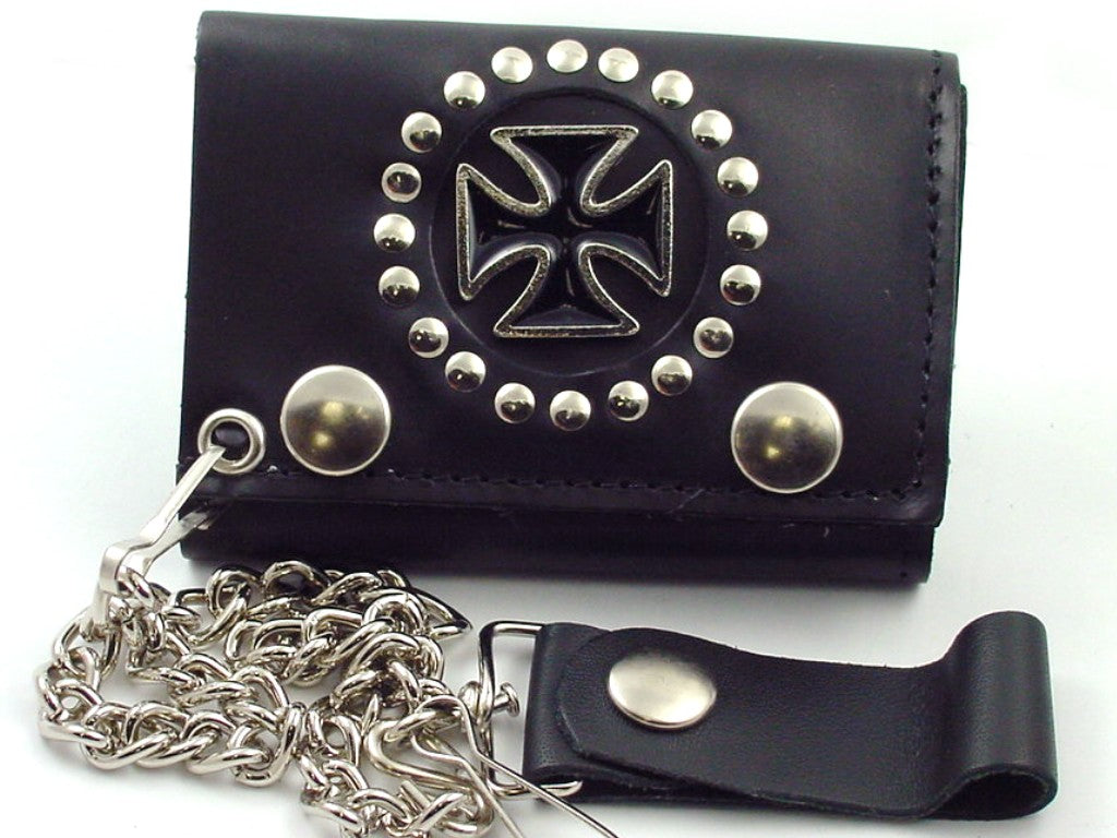 Iron Cross Premium Leather Chain Wallet