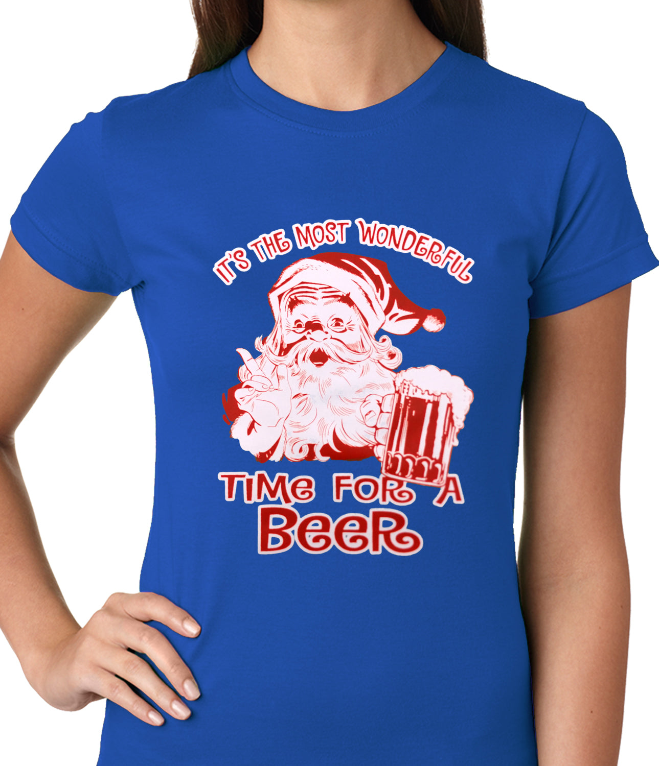 It's The Most Wonderful Time for a Beer Funny Christmas Ladies T-shirt