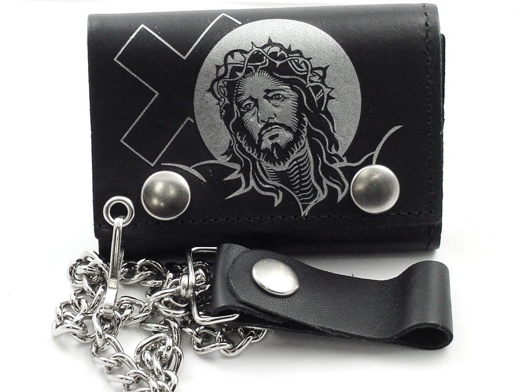 Jesus with Cross Genuine Leather Chain Wallet
