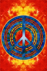 Jumbo 5' x 7' Psychedelic Fire Peace Sign Tapestry