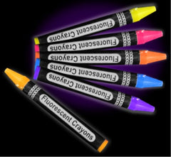 Jumbo Black Light Reactive Neon Color Crayons (6 pack)