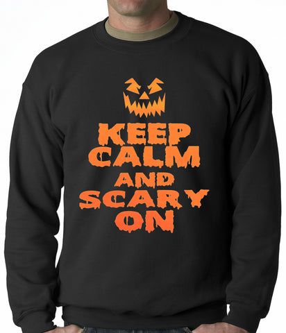 Keep Calm and Scary On Funny Halloween Adult Crewneck