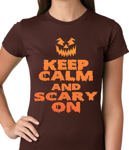 Keep Calm and Scary On Funny Halloween Ladies T-shirt