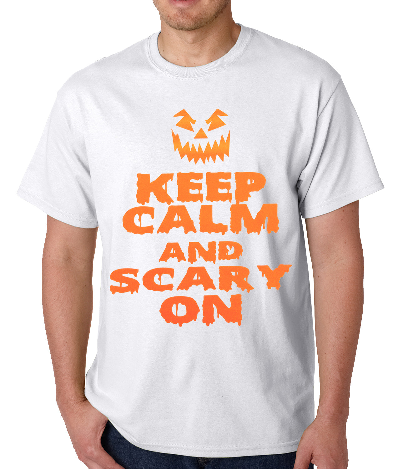 Keep Calm and Scary On Funny Halloween Mens T-shirt