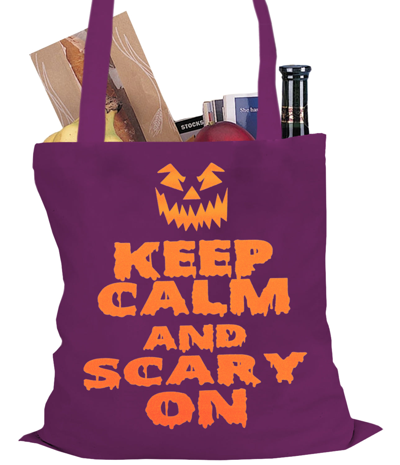 Keep Calm and Scary On Funny Halloween Tote Bag