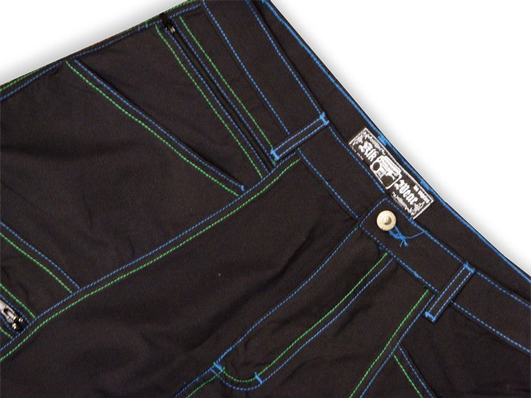 "Kikwear 28"" Microfiber Contrast Pants (Black / Green / Blue)"