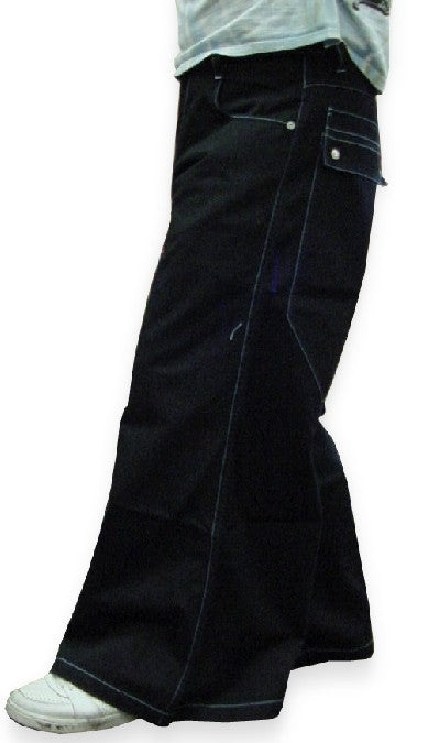 "Kikwear Jeans - Kikwear 42"" Wide Leg Soft Denim Jeans (Black)"