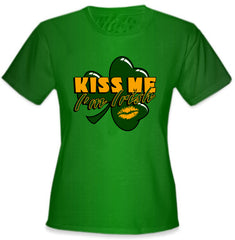 Kiss Me I'm Irish Shamrock Girl's T-Shirt