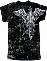 Konflic Big Cross Eagle All Over Print Mens T-Shirt (Black)