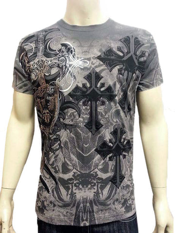 Konflic Celtic Cross T-Shirt (Charcoal Grey)
