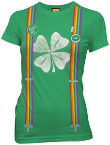 Ladies Kiss me I'm Irish St. Patrick's Day Rainbow Suspender Shirt