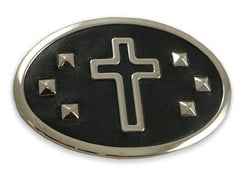 Leather Accent Studded Cross Buckle With FREE Leather Belt