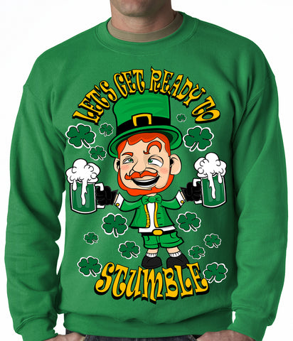 Leprechaun Let's Get Ready To Stumble Adult Crewneck