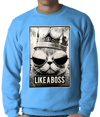 Like a Boss Cat with Crown and Glasses Adult Crewneck