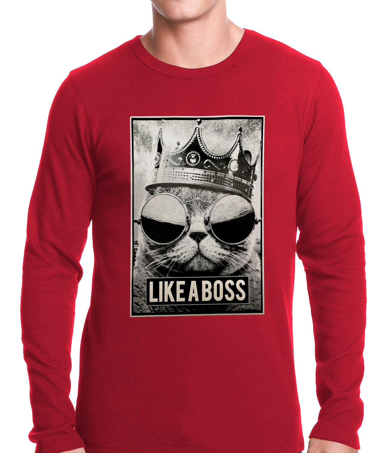 Like a Boss Cat with Crown and Glasses Thermal Shirt