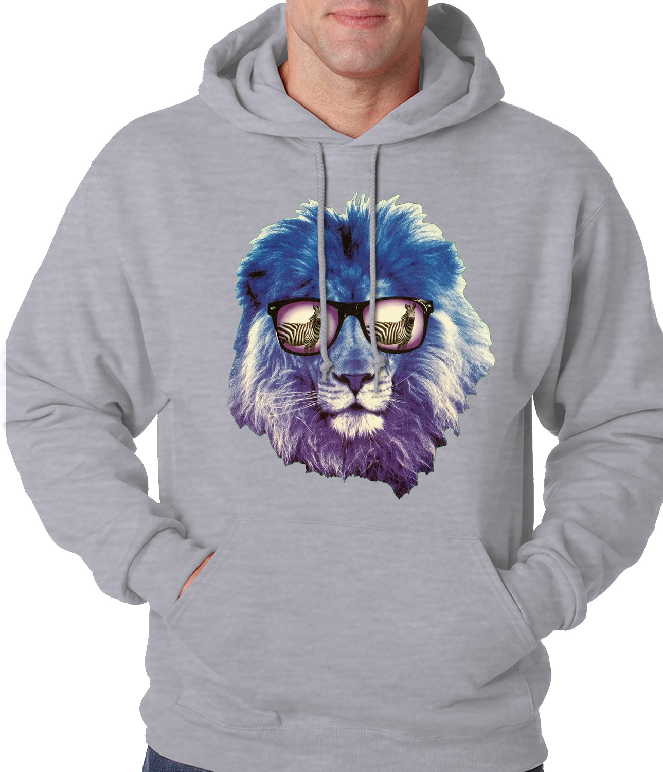 Lion Wearing Sunglasses Looking at a Zebra Adult Hoodie
