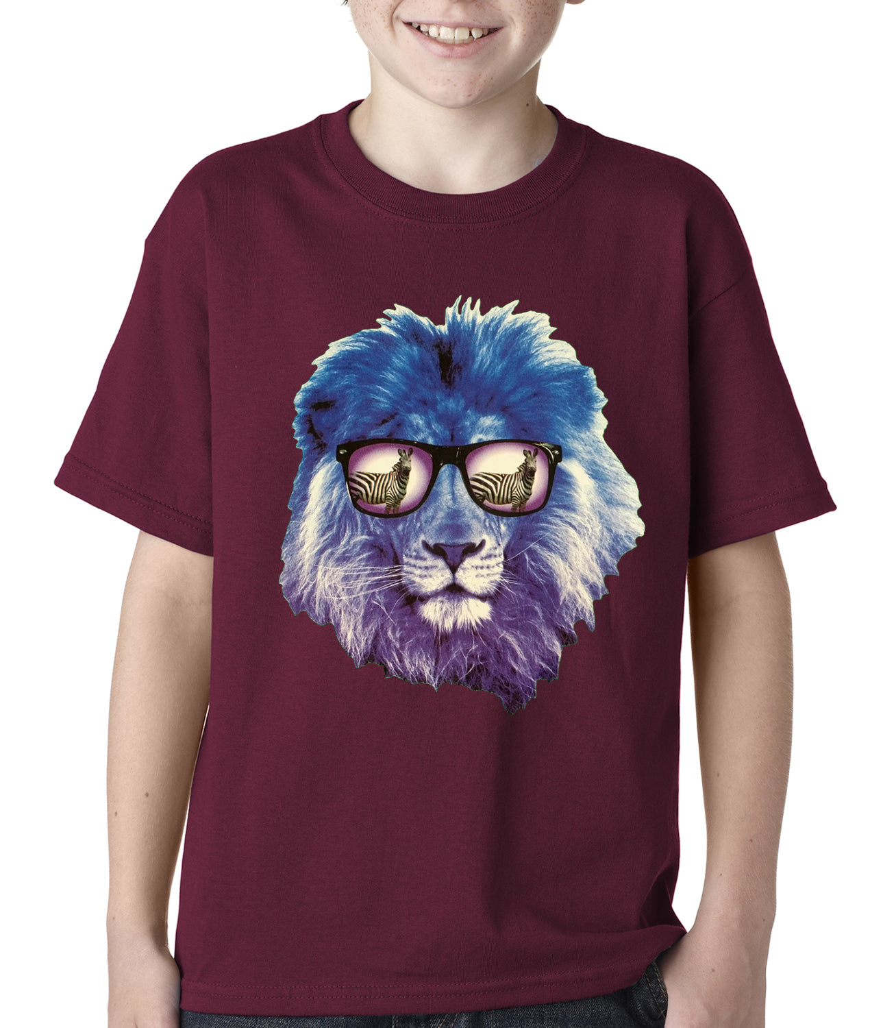 Lion Wearing Sunglasses Looking at a Zebra Kids T-shirt