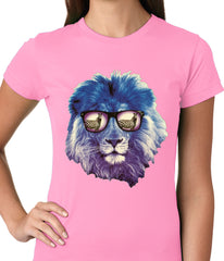 Lion Wearing Sunglasses Looking at a Zebra Ladies T-shirt