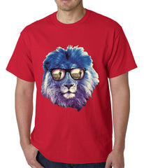 Lion Wearing Sunglasses Looking at a Zebra Mens T-shirt