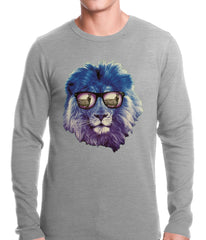 Lion Wearing Sunglasses Looking at a Zebra Thermal Shirt