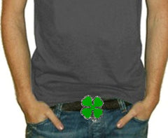 Lucky Shamrock 4 leaf Clover Buckle With FREE Leather Belt