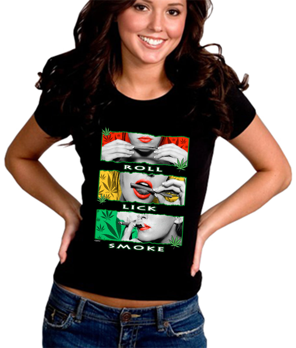Marijuana Girl Roll Lick Smoke Girl's T-Shirt