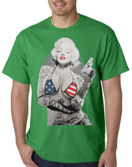 Marilyn Flag Bikini Mens T-shirt