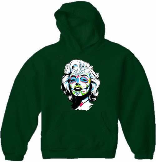Marilyn Monroe Sugar Skull Face Adult Hoodie