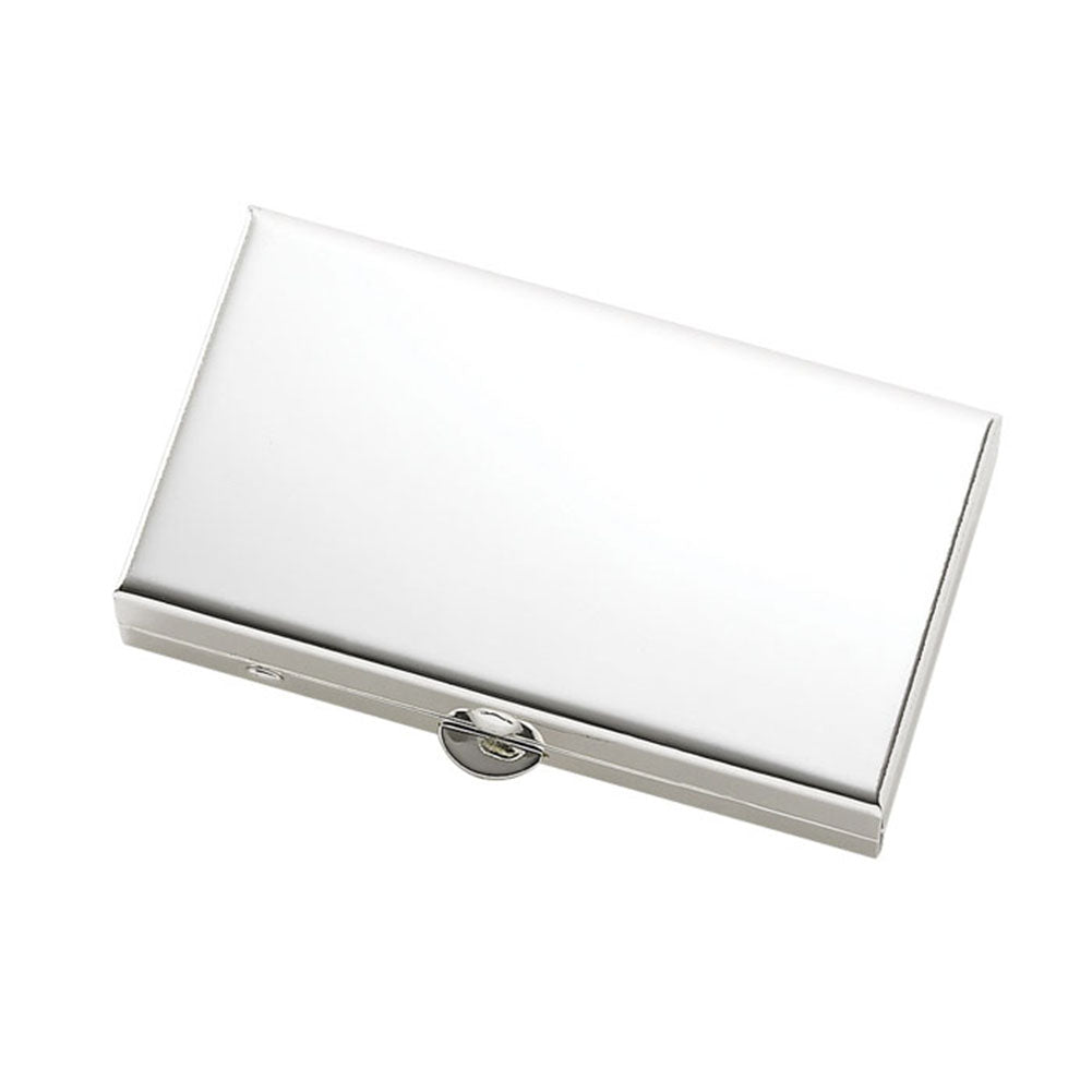 Matte Silver 2 Compartment Rectangular Pill Box