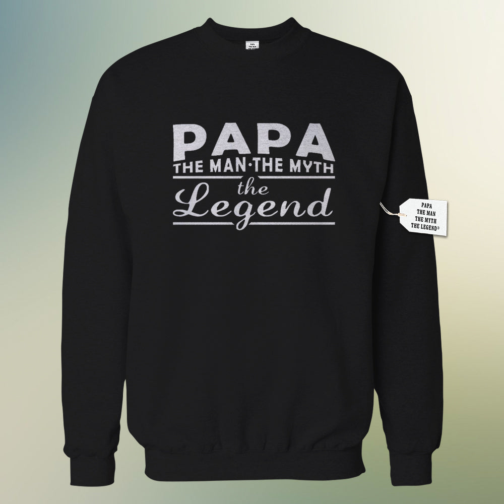 Mens Papa - The Man, The Myth, The Legend Fathers Day Adult Crewneck 1741