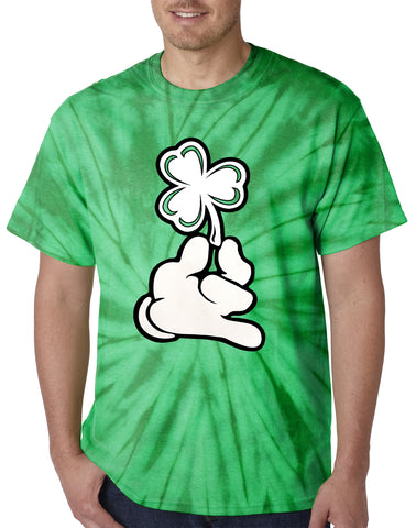 Mens Tie Dye Shirt with Cartoon Hand Holding Shamrock