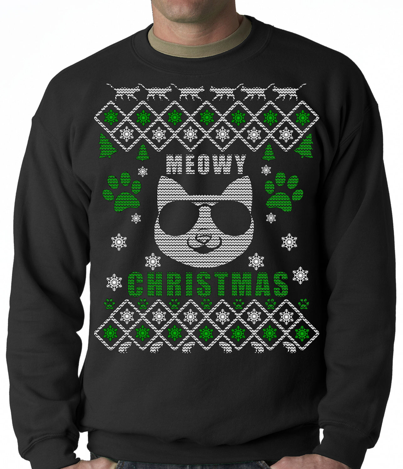"Meowy Christmas - ""Cool Cat with Glasses"" Ugly Christmas Adult Crewneck"