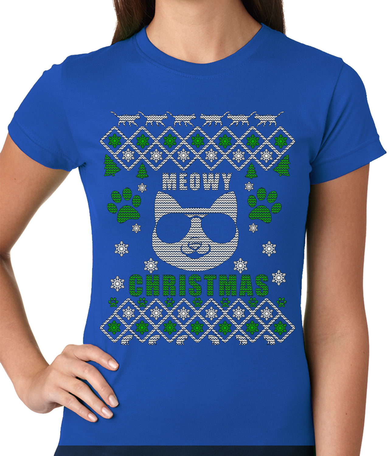 "Meowy Christmas - ""Cool Cat with Glasses"" Ugly Christmas Ladies T-shirt"