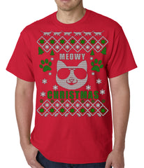 "Meowy Christmas - ""Cool Cat with Glasses"" Ugly Christmas Mens T-shirt"