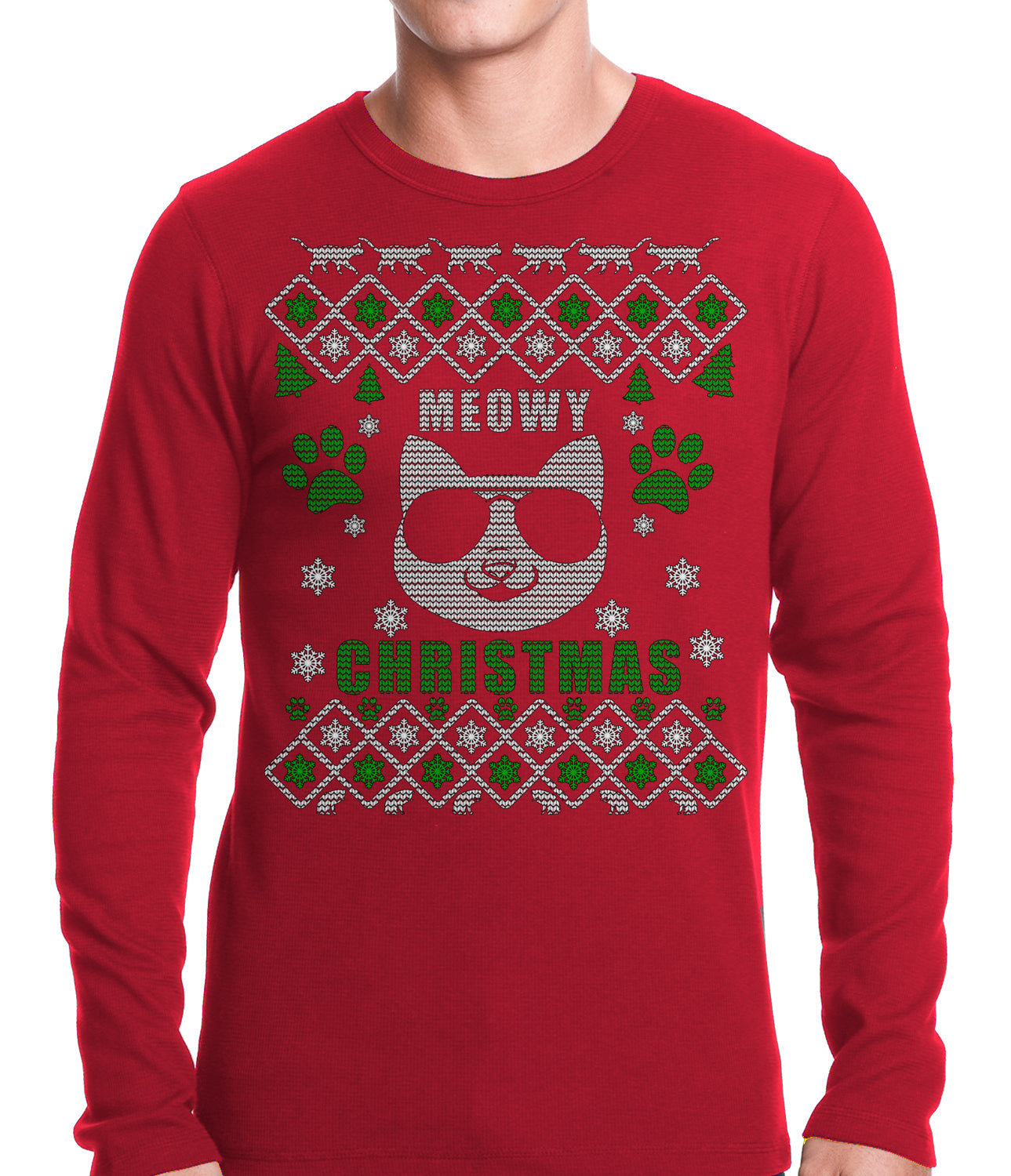 "Meowy Christmas - ""Cool Cat with Glasses"" Ugly Christmas Thermal Shirt"