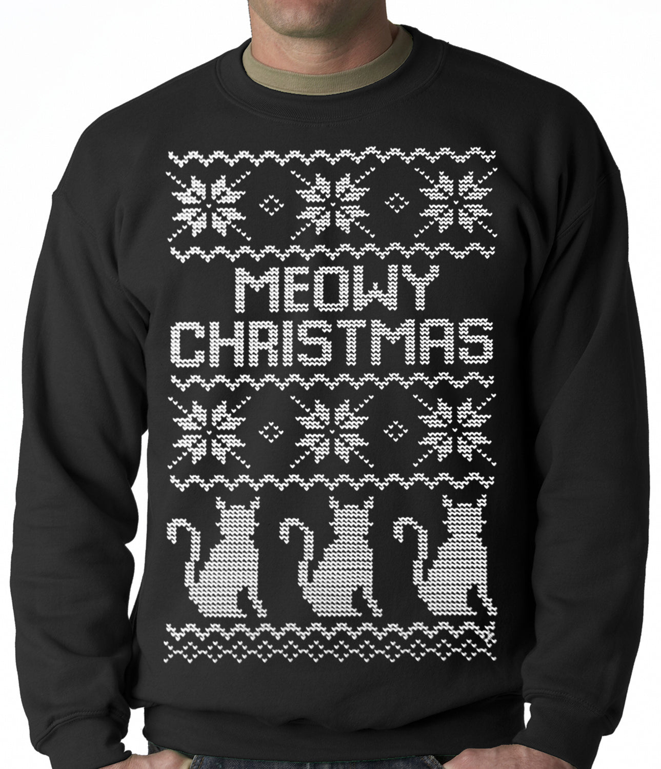 Ugly Christmas Sweater Cat.Ugly Christmas Sweater Meowy Christmas White Print 3 Cats Ugly Christmas Adult Crewneck