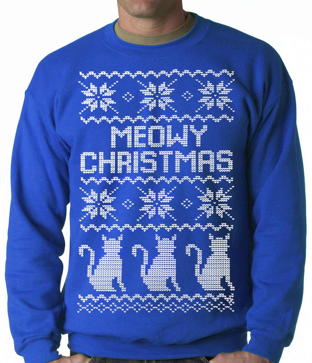 Blue And White Christmas Sweater.Ugly Christmas Sweater Meowy Christmas White Print 3 Cats Ugly Christmas Adult Crewneck