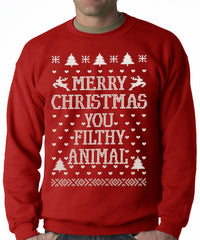Merry Christmas You Filthy Animal Adult Crewneck