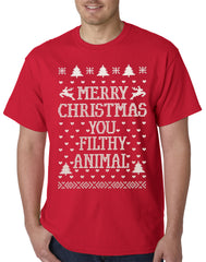 Merry Christmas You Filthy Animal Mens T-shirt