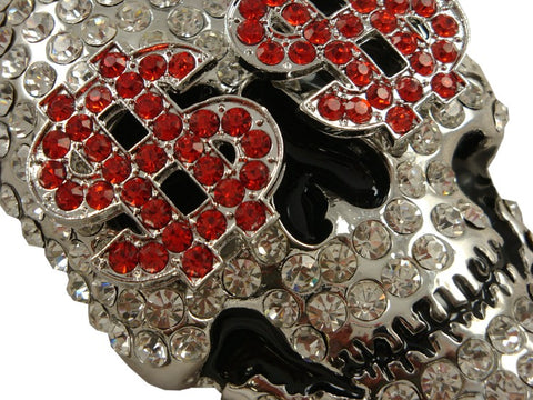 Millionaire Skull Rhinestone Belt Buckle With FREE Leather Belt