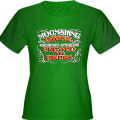Moonshine Brewed For Bikers Girl's T-Shirt