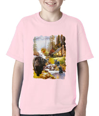 Mother Bear at the Cabin Kids T-shirt