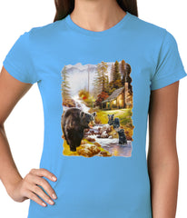 Mother Bear at the Cabin Ladies T-shirt