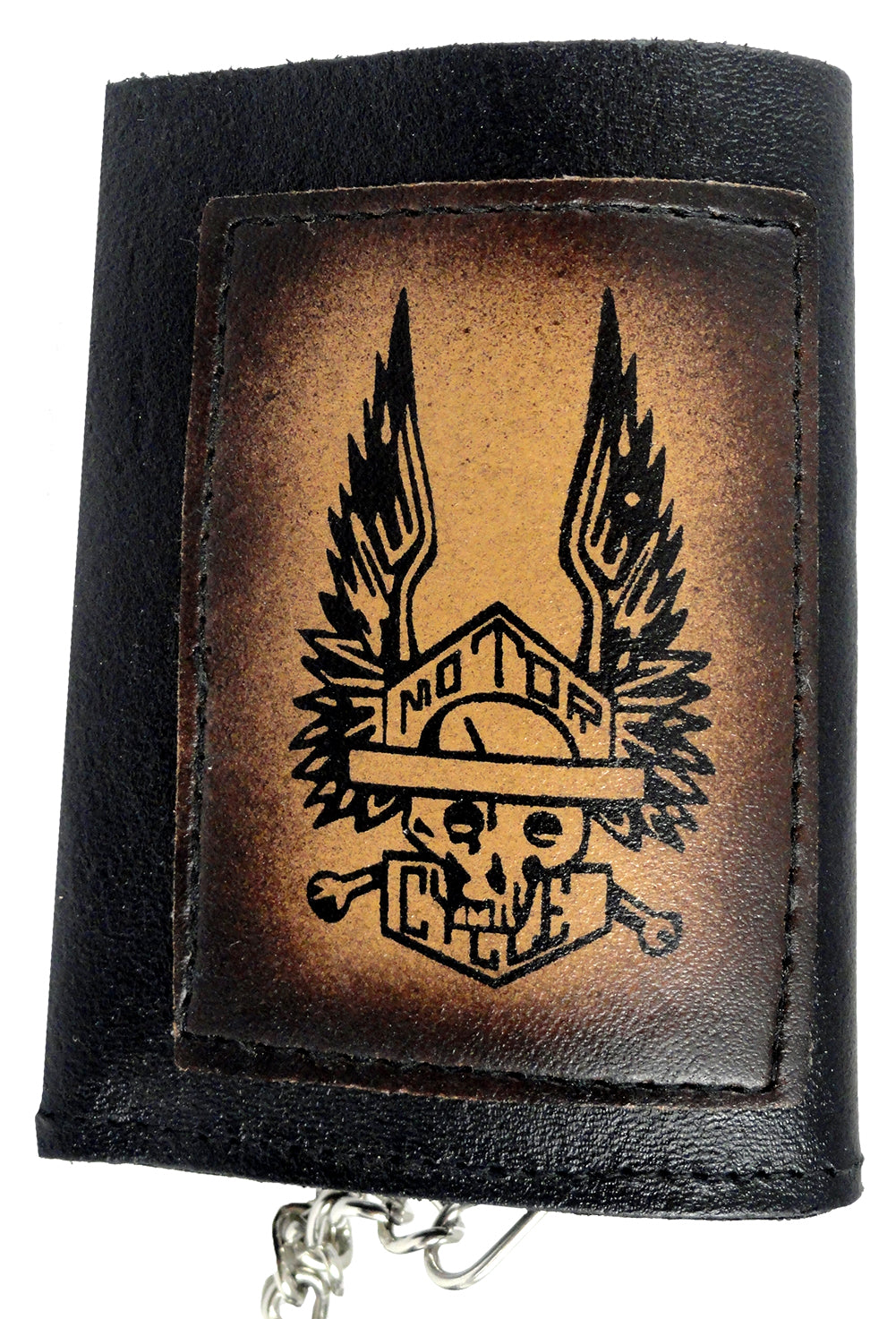 Motor Cycle Skull and Crossbones Leather Chain Wallet