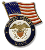 Navy With Flag Lapel Pin